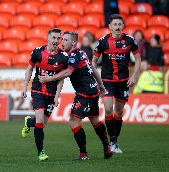 Gavin Whyte scores the winning goal for Crusaders and celebrates