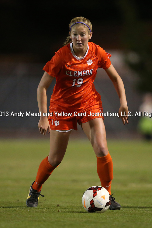 20 October 2013: Clemson's Jenna Polonsky. The University of North Carolina Tar Heels hosted the University of Virginia Cavaliers at Fetzer Field in Chapel Hill, NC in a 2013 NCAA Division I Women's Soccer match. North Carolina won the game 2-0.