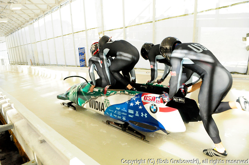 Nick Cunningham, Adam Clark, Andreas Drbal, And Christapher Fogt of the US at the 4 Man World Cup Bobsled Race at Lake Placid, New York