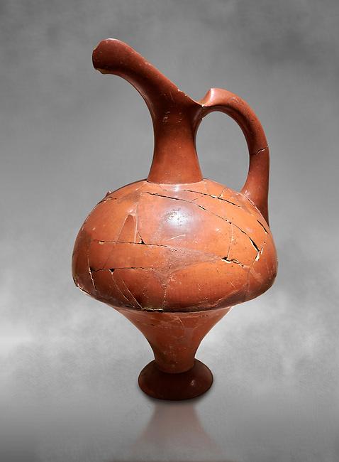 Hittite terra cotta pitcher - 16th century BC - Hattusa ( Bogazkoy ) - Museum of Anatolian Civilisations, Ankara, Turkey . Against grey art background