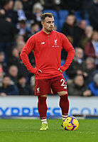 Liverpool's Xherdan Shaqiri during the prematch warmup<br /> <br /> Photographer David Horton/CameraSport<br /> <br /> The Premier League - Brighton and Hove Albion v Liverpool - Saturday 12th January 2019 - The Amex Stadium - Brighton<br /> <br /> World Copyright © 2018 CameraSport. All rights reserved. 43 Linden Ave. Countesthorpe. Leicester. England. LE8 5PG - Tel: +44 (0) 116 277 4147 - admin@camerasport.com - www.camerasport.com