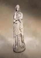 Roman statue of Nemesis goddess of  retribution.Marble. Perge. 2nd century AD. Inv no 6.29.81 . Antalya Archaeology Museum; Turkey. Against a warm art background.
