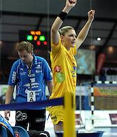 Handball Frauen / Damen  / women 1. Bundesliga - DHB - HC Leipzig : Frankfurter HC - im Bild: Natalie Augsburg hofft jubeln zu dürfen. Porträt. Foto: Norman Rembarz .