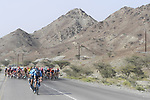 The peloton with Movistar Team on the front during Stage 4 of the 2019 UAE Tour, running 197km form The Pointe Palm Jumeirah to Hatta Dam, Dubai, United Arab Emirates. 26th February 2019.<br /> Picture: LaPresse/Fabio Ferrari | Cyclefile<br /> <br /> <br /> All photos usage must carry mandatory copyright credit (© Cyclefile | LaPresse/Fabio Ferrari)