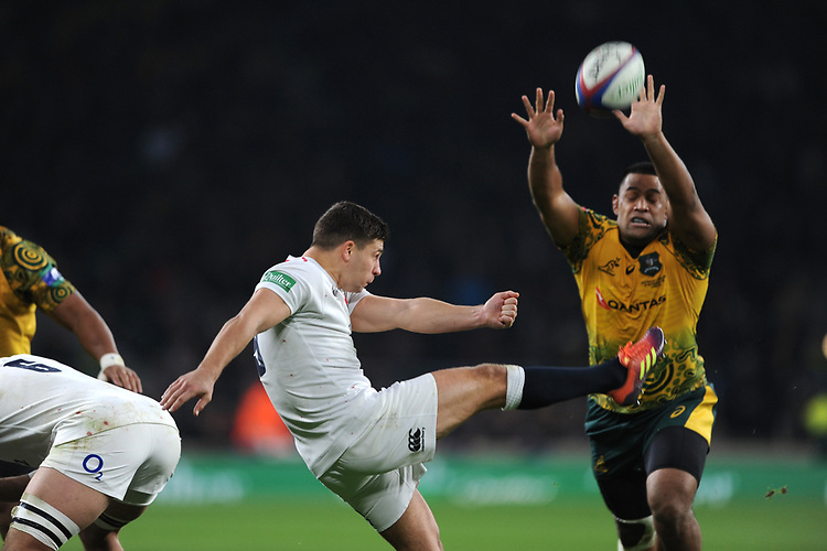 Ben Youngs of England nearly has his kick charged down by Sekope Kepu of Australia  during the Quilter International match between England and Australia at Twickenham Stadium on Saturday 24th November 2018 (Photo by Rob Munro/Stewart Communications)