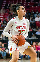 COLLEGE PARK, MD - FEBRUARY 9: Blair Watson #22 of Maryland on the attack during a game between Rutgers and Maryland at Xfinity Center on February 9, 2020 in College Park, Maryland.