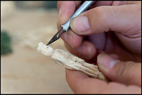 BNPS.,co.uk (01202 558833)<br /> Pic:   RogerArbon/BNPS<br /> <br /> Intricate work - Barry uses craft knives to carve out miniature details in some of the figures.<br /> <br /> Single-again Barry King has completed his stunning matchstick model of the front of Salisbury Cathedral - thanks to an old flame.<br /> <br /> Barry began the painstaking project in 2012 but downed tools when he become distracted by a long-term relationship.<br /> <br /> But after the couple split up last year, Barry resumed his hobby and completed the replica of the West Front of the Wiltshire cathedral using 730,000 matches.<br /> <br /> The stunning model will go on public display in Salisbury from August 19.