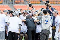 Houston, TX - Friday December 11, 2016: Stanford Cardinal Head Coach, Jeremy Gunn talks to his players after they beat the Wake Forest Demon Deacons in the College Cup at the NCAA Men's Soccer Finals at BBVA Compass Stadium in Houston Texas.
