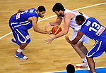 French national basketball team player Nicolas Batum and Marc Gasol, during final Eurobasket 2011 game between Spain and France in Kaunas, Lithuania, Sunday, September 18, 2011. (photo: Pedja Milosavljevic)