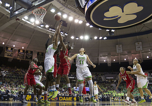 January 13, 2013:  A general view as Notre Dame forward Ariel Braker (left) goes up for a rebound during NCAA Basketball game action between the Notre Dame Fighting Irish and the Rutgers Scarlett Knights at Purcell Pavilion at the Joyce Center in South Bend, Indiana.  Notre Dame defeated Rutgers 71-46.