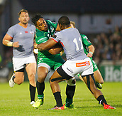 9th September 2017, Galway Sportsground, Galway, Ireland; Guinness Pro14 Rugby, Connacht versus Southern Kings; Bundee Aki (Connacht) tries to get past Sibusiso Sithole (Southern Kings)