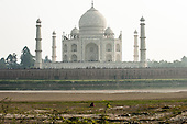 Agra, Utar Pradesh, India. Taj Mahal from the other side of the Yamuna River, the proposed location of the never-built Black Taj.