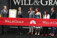 02 August 2017 - Universal City, California - Bob Greenblatt, Eric Garcetti, Eric McCormack, Debra Messing, Megan Mullally, Sean Hayes. 'Will & Grace' Start Of Production Kick Off Event And Ribbon Cutting Ceremony. Photo Credit: F. Sadou/AdMedia