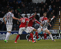 Josh Magennis and Jon Robertson compete for the ball in the St Mirren v Aberdeen Clydesdale Bank Scottish Premier League match played at St Mirren Park, Paisley on 9.11.12.