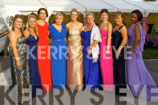 Pictured at the Rose Ball at the Dome on Friday night were Catherine Tobin, Leith, Nicola Sheehy, Annascaul, Geraldine Cotter, Tralee, Lisa O'Carroll, Listowel, Leanne Ryan Tralee, Eileen Davis, Ardfert, Siobhain Fitzpatrick, Ballinskelligs, Michelle McElligott, The Kerries and Abbie Cummings, the Spa.