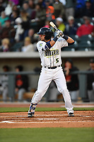 Third baseman Blake Tiberi (5) of the Columbia Fireflies bats in a game against the Augusta GreenJackets on Opening Day, Thursday, April 6, 2017, at Spirit Communications Park in Columbia, South Carolina. Columbia won, 14-7. (Tom Priddy/Four Seam Images)