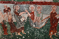 Fresco of Jesus with the fishermen, in Pancarlik Kilise or Pancarlik Church, early 11th century, in the Pancarlik Valley, Nevsehir province, Cappadocia, Central Anatolia, Turkey. The churches are carved from the soft volcanic tuff created by ash from volcanic eruptions millions of years ago. Early christians came here to flee persecution by the Romans and others settled here under the influence of early saints. This area forms part of the Goreme National Park and the Rock Sites of Cappadocia UNESCO World Heritage Site. Picture by Manuel Cohen
