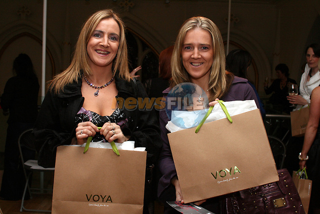 June Kelleher, Dromiskin and Carmel Owens, Ardee with their goodie bags at the Louth Craft Mark Fashion Show at the Highlanes Gallery in aid of the Rape Crisis and Sexual Abuse Centre North East...Photo NEWSFILE/Jenny Matthews.(Photo credit should read Jenny Matthews/NEWSFILE)....This Picture has been sent you under the condtions enclosed by:.Newsfile Ltd..The Studio,.Millmount Abbey,.Drogheda,.Co Meath..Ireland..Tel: +353(0)41-9871240.Fax: +353(0)41-9871260.GSM: +353(0)86-2500958.email: pictures@newsfile.ie.www.newsfile.ie.FTP: 193.120.102.198.