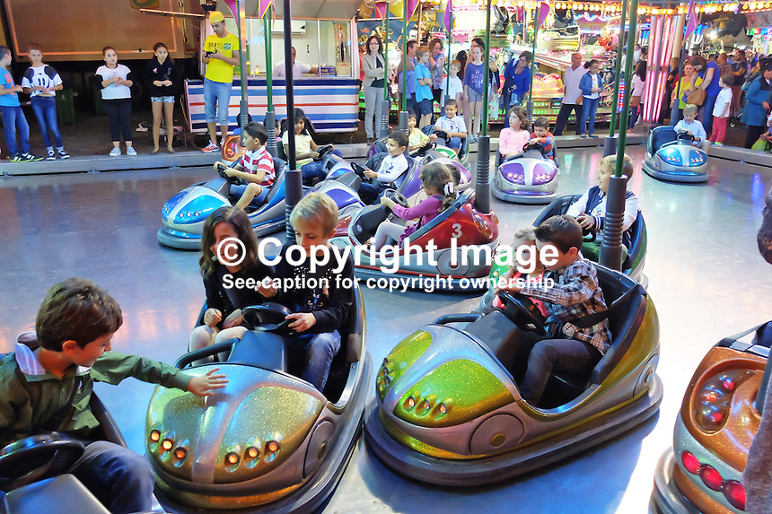 Fun on the dodgems! Fiesta, San Pedro de Alcantara, Marbella, Spain 15th October 2015. 201510151777<br />