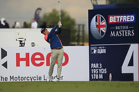 Grant Forrest (SCO) on the 4th tee during Round 2 of the Betfred British Masters 2019 at Hillside Golf Club, Southport, Lancashire, England. 10/05/19<br /> <br /> Picture: Thos Caffrey / Golffile<br /> <br /> All photos usage must carry mandatory copyright credit (&copy; Golffile | Thos Caffrey)