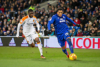 Nathaniel Mendez-Laing of Cardiff City gets past Fikayo Tomori of Hull City during the Sky Bet Championship match between Cardiff City and Hull City at the Cardiff City Stadium, Cardiff, Wales on 16 December 2017. Photo by Mark  Hawkins / PRiME Media Images.