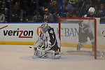 A shot on goal bounces off the pads of Colorado Avalanche goalie Semyon Varlamov (1) in the third period during a game between the Colorado Avalanche and the St. Louis Blues on Tuesday April 23, 2013 at the Scottrade Center in downtown St. Louis.