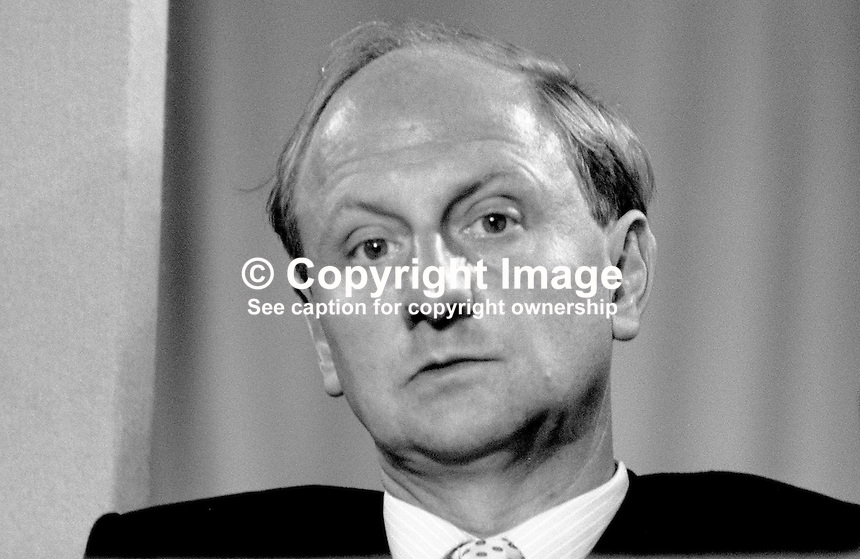 Richard Needham, aka 6th Earl of Kilmorey, MP, Conservative Party, junior minister, N Ireland Office, UK, 19871039RN.<br /> <br /> Copyright Image from Victor Patterson, 54 Dorchester Park, <br /> Belfast, UK, BT9 6RJ<br /> <br /> t1: +44 28 9066 1296 (from Rep of Ireland 048 9066 1296)<br /> t2: +44 28 9002 2446 (from Rep of Ireland 048 9002 2446)<br /> m: +44 7802 353836<br /> <br /> e1: victorpatterson@me.com<br /> e2: victorpatterson@gmail.com<br /> <br /> www.victorpatterson.com<br /> <br /> Please see my Terms and Conditions of Use at www.victorpatterson.com. It is IMPORTANT that you familiarise yourself with them.<br /> <br /> Images used on the Internet must be visibly watermarked i.e. &copy; Victor Patterson within the body of the image and copyright metadata must not be deleted. Images used on the Internet have a size restriction of 4kbs and will be chargeable at current NUJ rates unless agreed otherwise.<br /> <br /> This image is only available for the use of the download recipient i.e. television station, newspaper, magazine, book publisher, etc, and must not be passed on to any third party. It is also downloaded on condition that each and every usage is notified within 7 days to victorpatterson@me.com<br /> <br /> The right of Victor Patterson to be identified as the author is asserted in accordance with The Copyright Designs And Patents Act (1988).