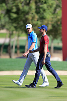 Victor Perez (FRA) and Thomas Detry (BEL) on the 17th during the 3rd round of the Abu Dhabi HSBC Championship, Abu Dhabi Golf Club, Abu Dhabi,  United Arab Emirates. 18/01/2020<br /> Picture: Fran Caffrey | Golffile<br /> <br /> <br /> All photo usage must carry mandatory copyright credit (© Golffile | Fran Caffrey)