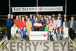 Donald Pierce presented to owners Sheila and  Jeremiah Murphy  Rathmore   Trainer Maurice O'Connor, Moss Leen (handler) with  winning dog no. 2 Russmur Flyerof the 2016 Lee Strand 550 Final at the Kingdom Greyhound Stadium on Saturday