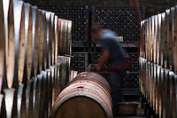 topping up wine barrels domaine parent pommard cote de beaune burgundy france