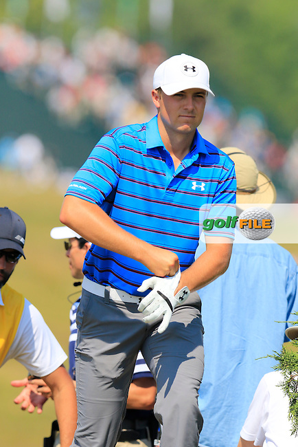 Jordan Spieth (USA) walks onto the 2nd tee during Friday's Round 2 of the 97th US PGA Championship 2015 held at Whistling Straits, Mosel, Kohler, Wisconsin, United States of America. 14/08/2015.<br /> Picture Eoin Clarke, www.golffile.ie