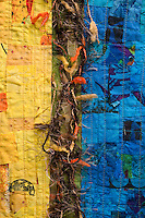 Detail of quilt by artist Marie Jensen, using appliqué, a fusible web and hand painted fabrics.