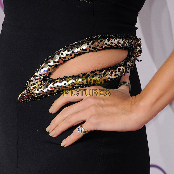 Heidi Klum's hand.People's Choice Awards 2013 - Arrivals held at Nokia Theatre L.A. Live, Los Angeles, California, USA..January 9th, 2013.detail hand on hip ring black silver gold trim cut out away .CAP/ADM/BP.©Byron Purvis/AdMedia/Capital Pictures.