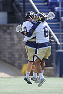 Annapolis, MD - April 15, 2017: Navy Midshipmen Ryan Wade (8) and Navy Midshipmen Greyson Torain (6) celebrates after a goal during game between Army vs Navy at  Navy-Marine Corps Memorial Stadium in Annapolis, MD.   (Photo by Elliott Brown/Media Images International)