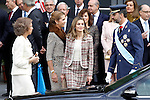 Prince Felipe of Spain (r), Princess Letizia of Spain (c-r), Sofia Queen of Spain (l) and Infanta Elena of Spain attend the National Day Military Parad.October 12,2012.(ALTERPHOTOS/Acero)