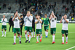 Stockholm 2015-10-25 Fotboll Allsvenskan Hammarby IF - Malm&ouml; FF :  <br /> Hammarbys spelare Philip Haglund , Lars Saetra S&auml;tra , M&aring;ns S&ouml;derqvist , Birkir Mar Saevarsson S&auml;varsson och Mats Solheim appl&aring;derar framf&ouml;r Hammarbys supportrar efter matchen mellan Hammarby IF och Malm&ouml; FF <br /> (Foto: Kenta J&ouml;nsson) Nyckelord:  Fotboll Allsvenskan Tele2 Arena Hammarby HIF Bajen Malm&ouml; FF MFF