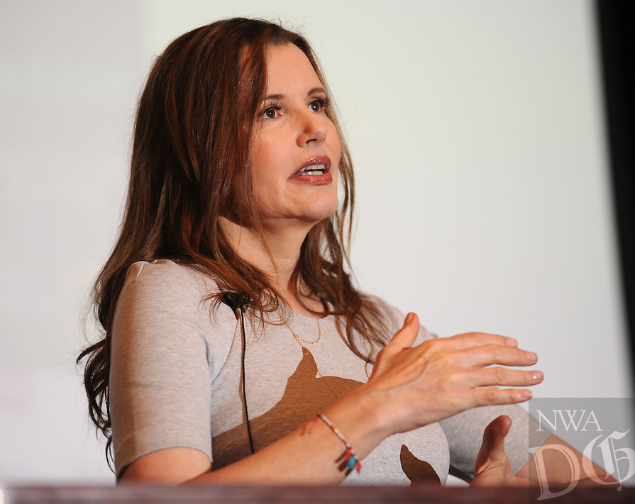 NWA Democrat-Gazette/ANDY SHUPE<br /> Actor Geena Davis speaks Thursday, March 10, 2016, in Giffels Auditorium in Old Main on the University of Arkansas campus in Fayetteville. Davis was in town to speak about gender in the media and to promote the upcoming Bentonville Film Festival.