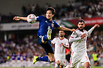 Haraguchi Genki of Japan (L) in action during the AFC Asian Cup UAE 2019 Semi Finals match between I.R. Iran (IRN) and Japan (JPN) at Hazza Bin Zayed Stadium  on 28 January 2019 in Al Alin, United Arab Emirates. Photo by Marcio Rodrigo Machado / Power Sport Images
