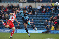 Rowan Liburd of Wycombe Wanderers heads a shot at goal during the Sky Bet League 2 match between Wycombe Wanderers and Stevenage at Adams Park, High Wycombe, England on 12 March 2016. Photo by Andy Rowland/PRiME Media Images.