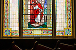 A stained glass window 16th Street Baptist Church in downtown Birmingham, Alabama. In 1963, four girls were killed when a bomb under the church's side steps went off and though it has since been repaired, Jesus' face was broken out of the window in the blast.