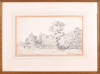 BNPS.co.uk (01202 558833)<br /> Pic: Dawsons/BNPS<br /> <br /> A charming sketch which has been attributed the great English landscape painter John Constable has been discovered during a house clearance.<br /> <br /> The 9ins by 5.5ins artwork, titled 'A London Terrace of Trees and Figures, shows a large Georgian townhouse surrounded with tall oak trees.<br /> <br /> It was found in a cardboard file tucked away in the corner of a pensioner's bedroom in a property in Holland Park, central London.<br /> <br /> The sketch was bequeathed to her by her late next door neighbour who she had known since World War Two, becoming close friends over the decades that followed.<br /> <br /> It is now being sold with Dawsons Auctioneers, of Maidenhead, Berks, who expect it to fetch £6,000.
