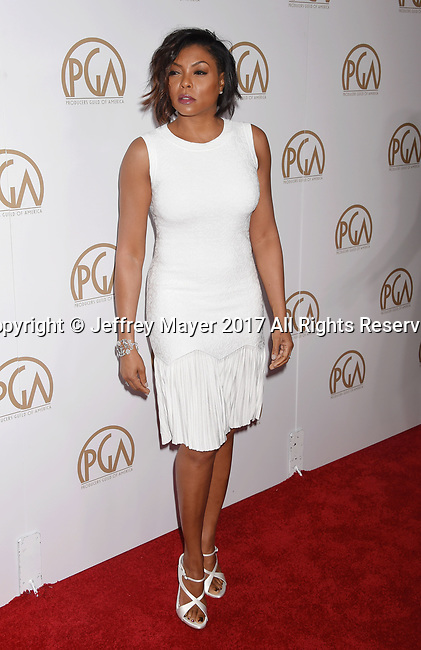 HOLLYWOOD, CA - JANUARY 28: Actress Taraji P. Henson arrives at the 28th Annual Producers Guild Awards at The Beverly Hilton Hotel on January 28, 2017 in Beverly Hills, California.