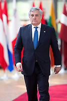 Antonio Tajani, pr&eacute;sident du Parlement europ&eacute;en lors du Sommet Europ&eacute;en &agrave; Bruxelles.<br /> Belgique, Bruxelles, 22 juin 2017.<br /> Antonio Tajani,, President of the European Parliament  attends the European Council in Brussels.<br /> Belgium, Brussels, 22 June, 2017.