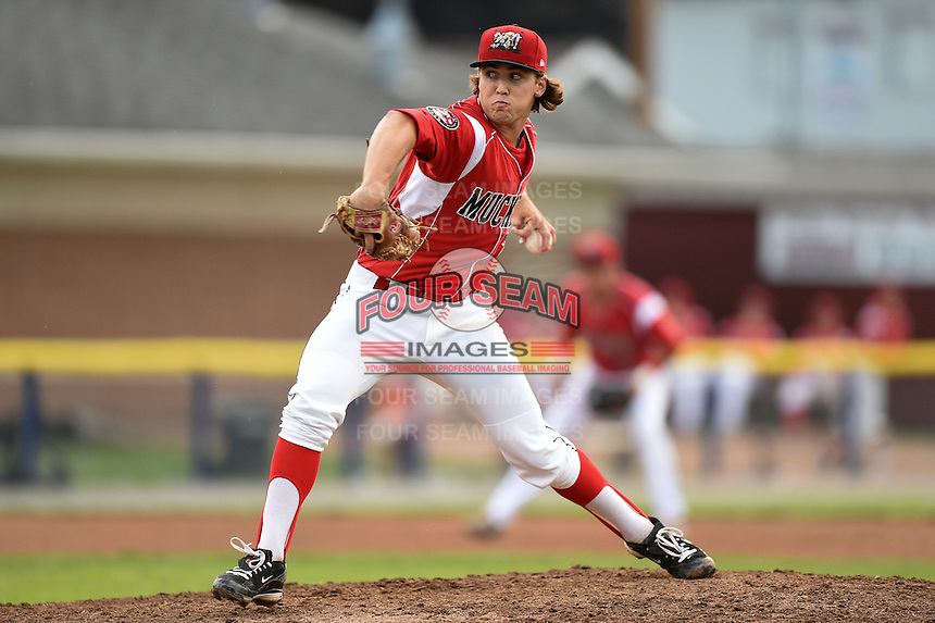 Batavia Muckdogs pitcher Michael Mader (21) delivers a pitch during a game against the Staten Island Yankees on August 7, 2014 at Dwyer Stadium in Batavia, New York.  Staten Island defeated Batavia 2-1.  (Mike Janes/Four Seam Images)