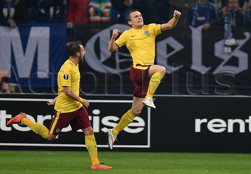 22.10.2015. Gelsenkirchen, Germany. UEFA Europa League football. FC Schalke versus Sparta Prague.   David Lafata (Sparta Prag) celebrates his goal