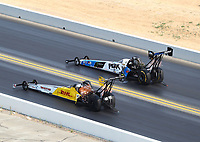 Jul 29, 2018; Sonoma, CA, USA; NHRA top fuel driver Richie Crampton (near) alongside Brittany Force during the Sonoma Nationals at Sonoma Raceway. Mandatory Credit: Mark J. Rebilas-USA TODAY Sports