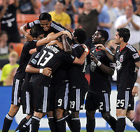 D.C. United midfielder Chris Pontius (13) celebrates his score with teammates. D.C. United defeated The Vancouver Whitecaps FC 4-0 at RFK Stadium, Saturday August 13 , 2011.