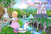 GIORDANO, CHILDREN, KINDER, NIÑOS, paintings+++++,USGI2889,#k# ,puzzle,princess,unicorn,castle,rainbow