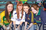 Kerry fans at the Muster Semi Final against Limerick held last Saturday in The Gaelic Grounds, pictured l-r: Shirley Eager(Farrenfore), Joanie Aherne(Castleisland) and Chloe and Linda Lyons(Knocknagoshal)