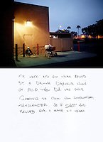 "This is a scan of a print that was given to the subject, Billy Joe McCall, so that he could write his thoughts. He wrote:..""My wife and son were killed by a drunk driver high on PCP. The DA was only going to give him involuntary manslaughter. So I shot and killed him. I served 2.7 years.""..Ventura, California, July 23, 2010 - Billy Joe McCall, a homeless veteran who was in the 82nd Airborne for two tours during the Vietnam War, sits behind Premium Tires in Ventura, one of three places in the neighborhood Mr. McCall calls home. ""I like to sit here at night to read and write because it is a good light,"" said Mr. McCall. There is also a Subway and Chevron next door for food and drinks. Mr. McCall says that he actually sleeps a few blocks down in the doorway of a doctor's office. ""The doctor is good to me. He let's me sleep late and sometimes brings me coffee."" Mr. McCall's life began to fall apart after his wife and child were killed by a drunk driver who was also high on PCP (phencyclidine piperidine). After learning the driver would only be charged with involuntary manslaughter, Mr. McCall says he paid for the man's bail and then shot him. ""I went into the bar where he hung out, laid down a .357 on the table and said go for it. He looked at me like I was crazy. But I had a .38 on my hip. He went for it and I shot him dead. I got almost three years for it."" After being released from prison, Mr. McCall's life began to unravel. He lost his painting business and says he worked for a stint with the mob in Florida. With a felony charge and a severe limp from a wound he received in Vietnam, jobs grew scarcer. He returned Texas for a period before coming to California to help take care of his ailing mother. Her medical bills and his lack of work left him with no other opportunities, but a life of the street. He says his VA pension will begin in September. ""That is going to get me off the streets once and for all."" ."